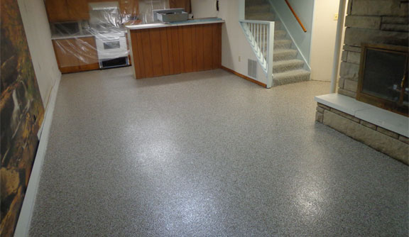 epoxy floor in finished basement